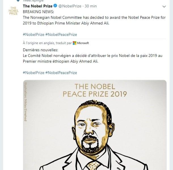 Le premier ministre  éthiopien Abiy Ahmed, Prix Nobel de la Paix 2019