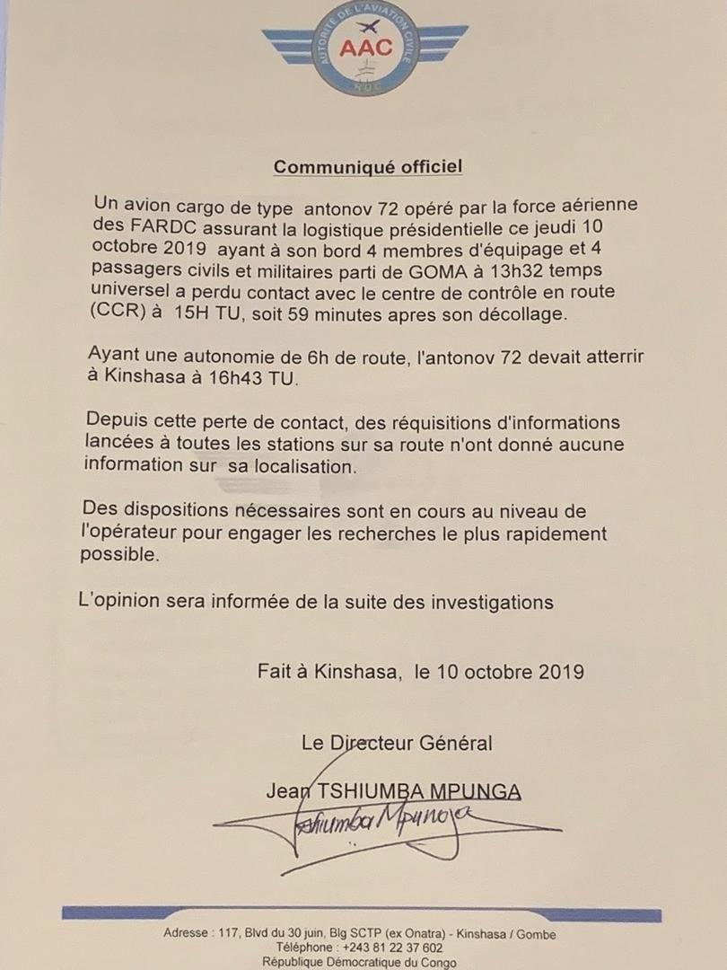 RDC : des débris de l'avion assurant la logistique présidentielle retrouvés dans le Maniema