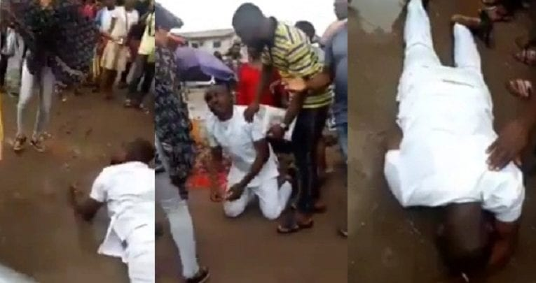 Man-breaks-down-in-tears-and-rolls-in-the-mud-after-his-girlfriend-rejected-his-marriage-proposal-in-Imo