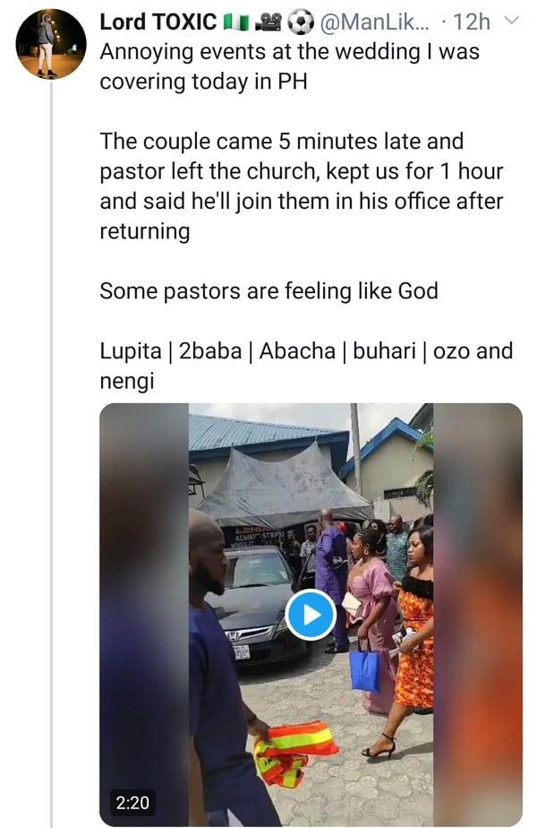 Vidéo: un pasteur refuse de célébrer  le mariage d'un couple en retard de 5 minutes à l'église