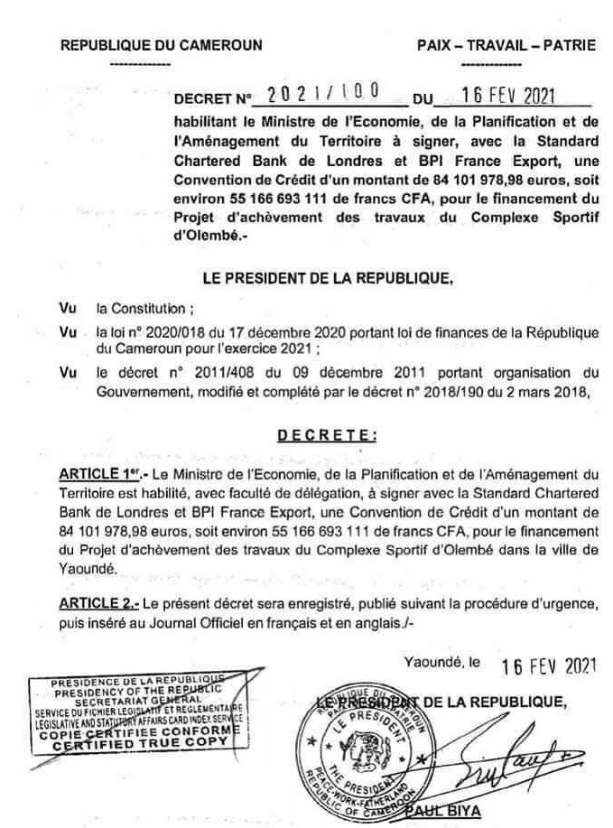 Le Cameroun s'endette à plus de 50 milliards de FCFA pour l'achèvement du complexe sportif d'Olembé