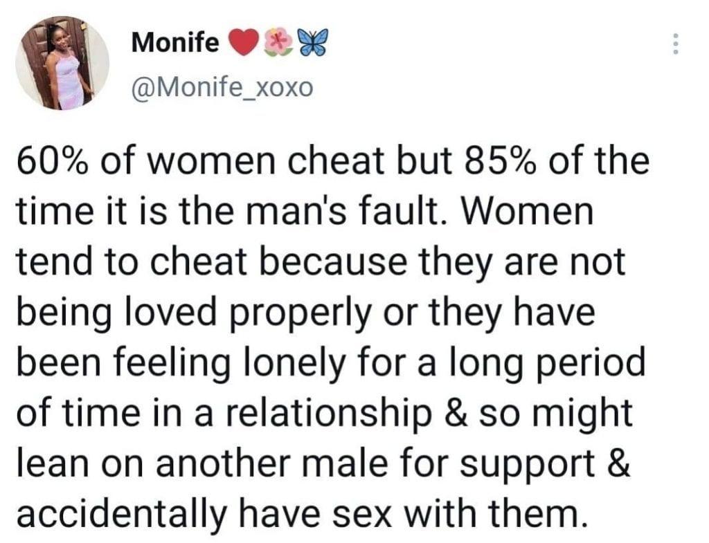 """""""Les hommes sont la cause de l'infidélité des femmes"""", dixit une jeune femme qui donne ses raisons"""
