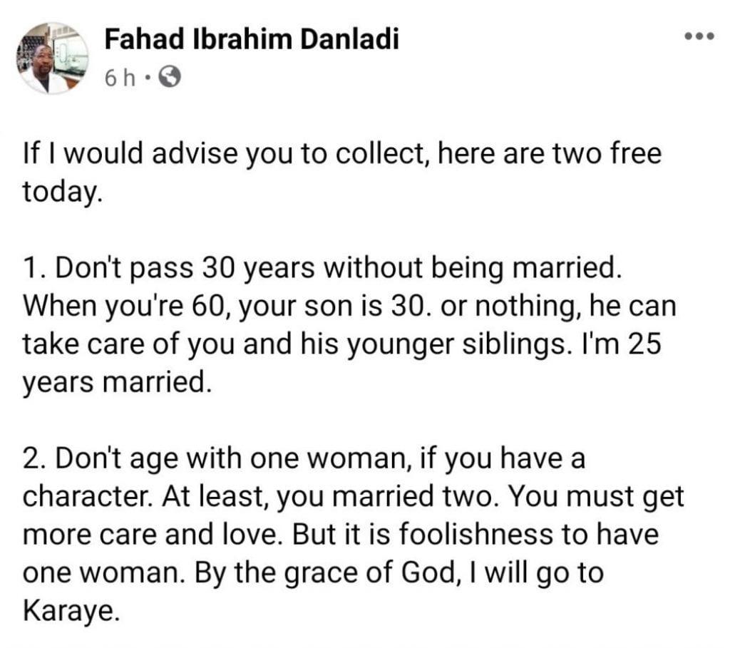«C'est une folie de marier une seule femme», il conseille aux hommes d'épouser plus de femmes