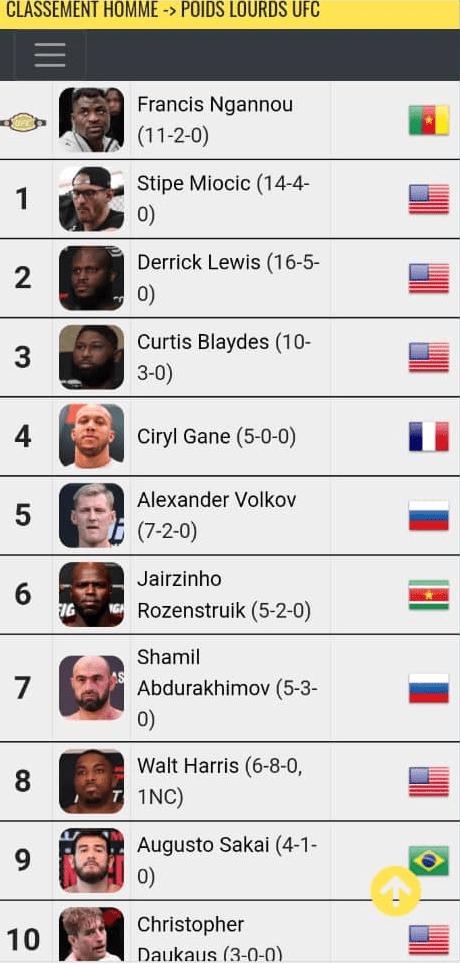 UFC: découvrez le classement Mondial du Top 10 des hommes de poids lourds