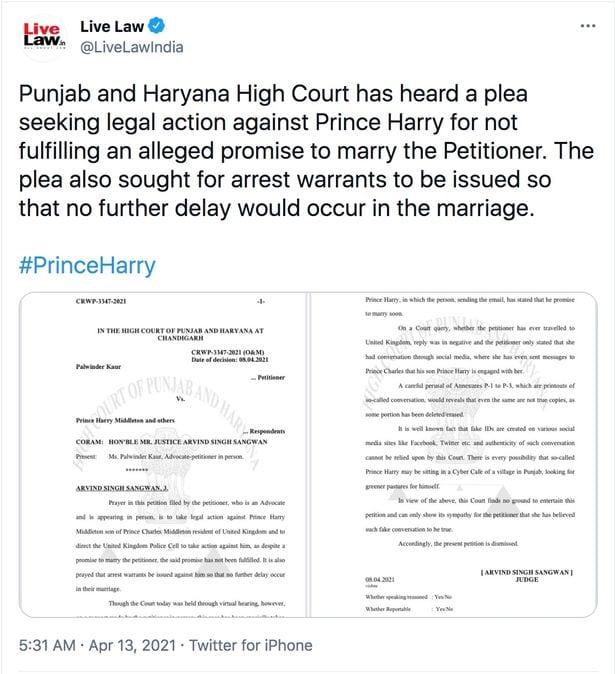Prince Harry: une avocate demande qu'il soit arrêté pour avoir promis de l'épouser
