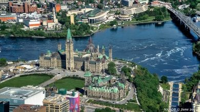 Ottawa, Ontario, Canada: Aerial view of Parliament Hill