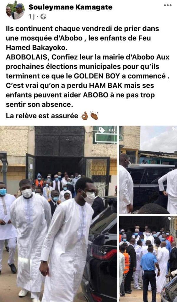 L'homme Saga invite les Abobolais à confier la mairie d'Abobo aux enfants d'Hamed Bakayoko