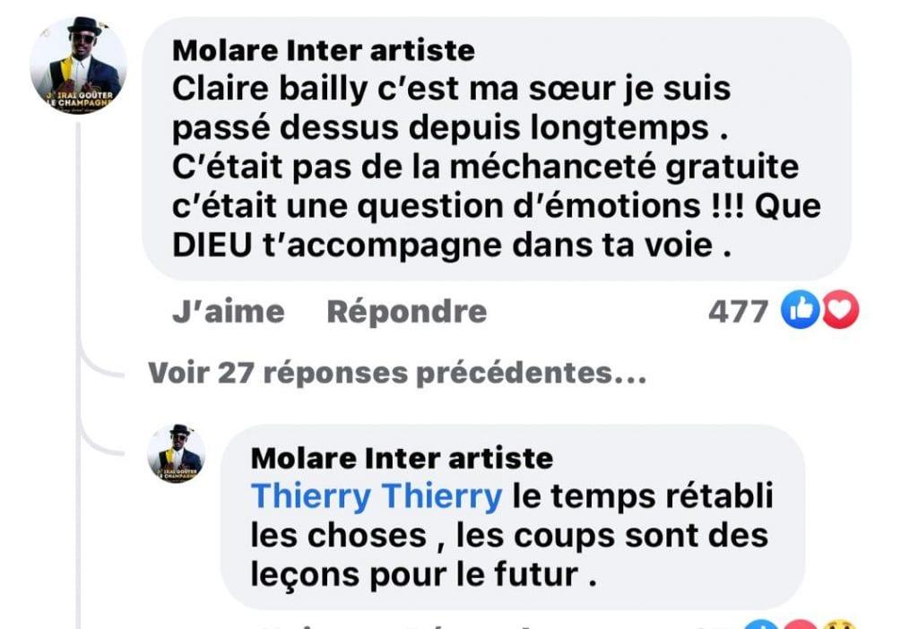 Claire Bally s'excuse auprès de Molare et Serge Beynaud pour des injures proférées: voici la réaction de Molare qui surprend