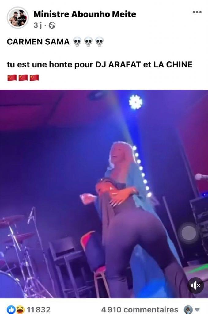 Un Internaute À Carmen Sama : &Quot;Tu Es Une Honte Pour Dj Arafat Et La Chine&Quot;