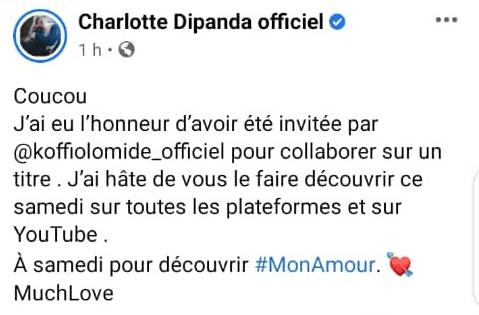 Charlotte Dipanda : son message sur sa collaboration avec Koffi Olomidé