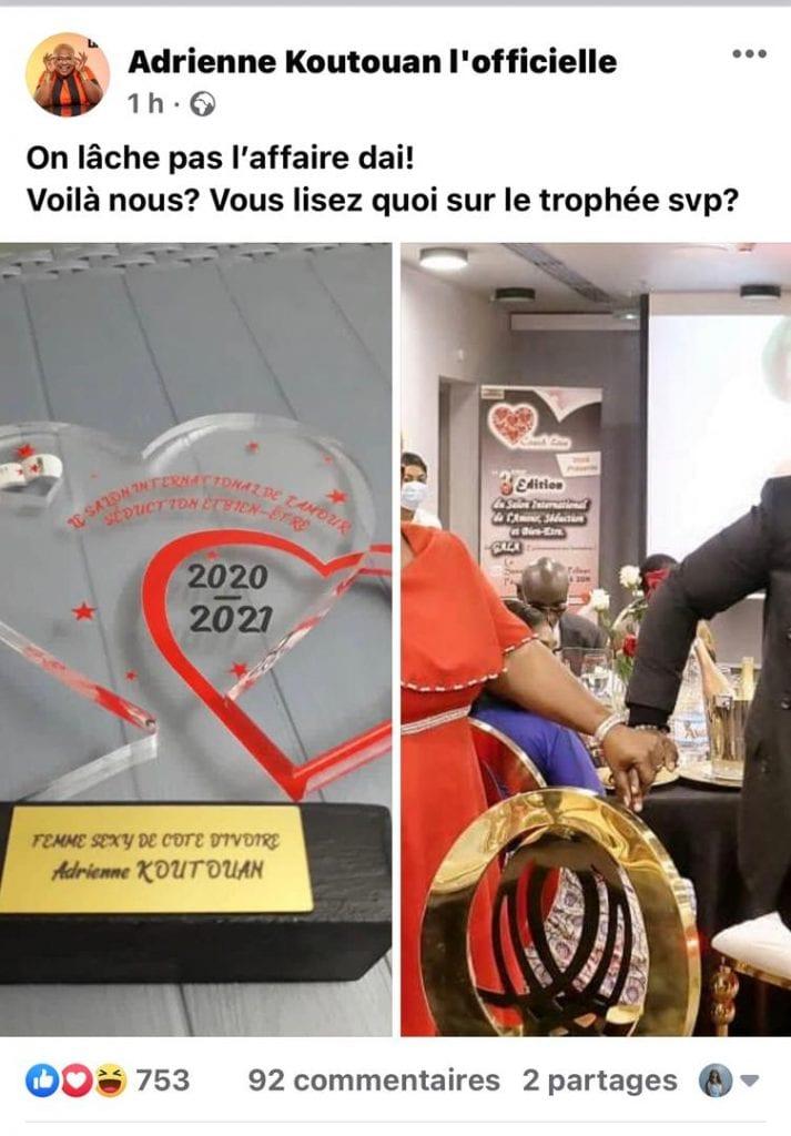 Culture : la comédienne  Adrienne Koutouan primée femme sexy de Côte d'Ivoire