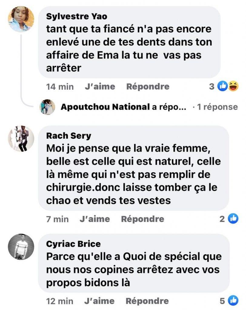 Apoutchou National : dans sa conquête pour l'amour d'Emma Lohoues fustige plusieurs internautes dans un post