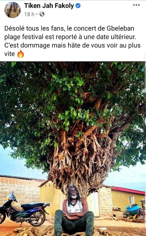 Côte d'Ivoire/ Tiken Jah : son message à ses fans après l'annulation de son concert
