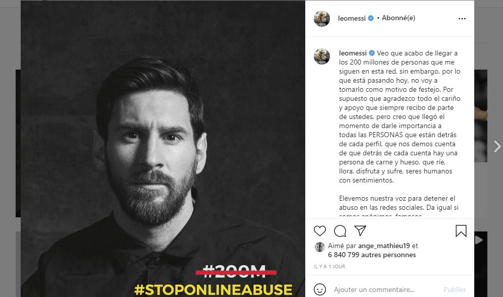 Racisme dans le sport/Boycott des réseaux sociaux en Angleterre: Messi brise enfin le silence