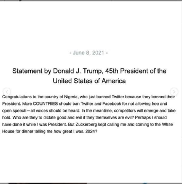 Donald Trump envoie un message au Nigeria qui a suspendu Twitter