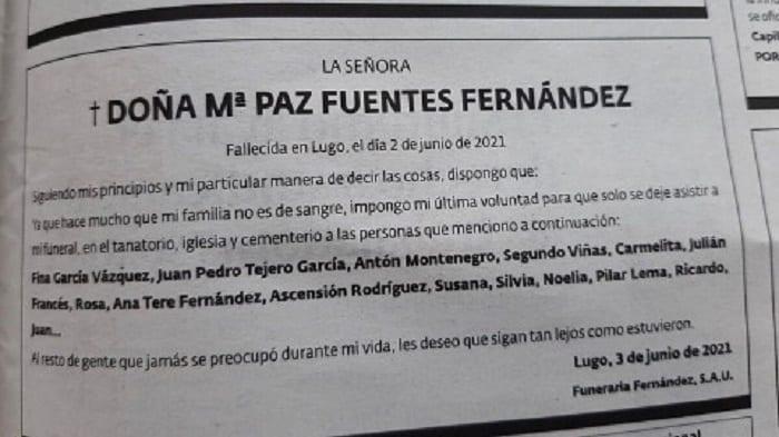 Espagne : une femme morte interdit sa famille à ses funérailles; dresse sa liste d'invités