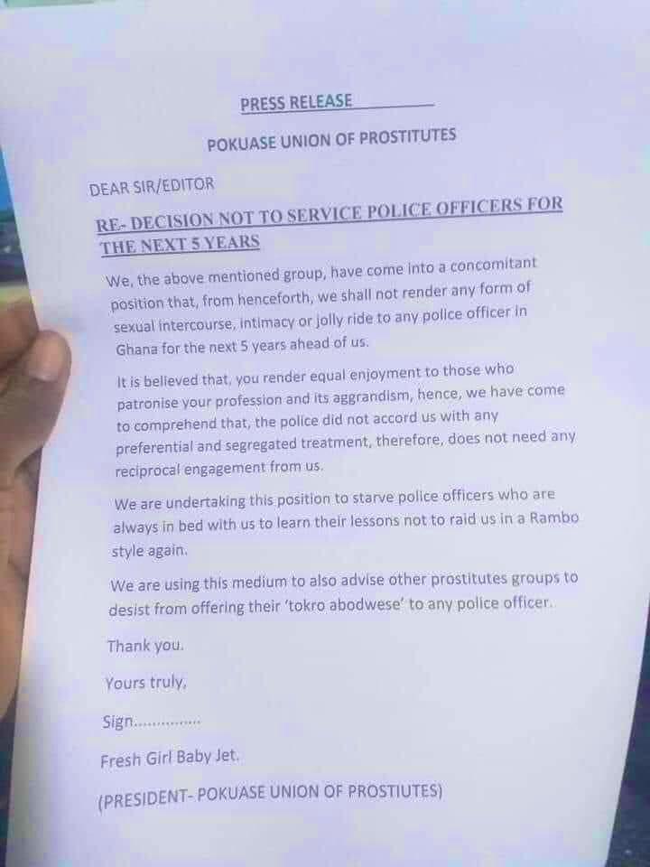 """Ghana : les prostituées décident """"d'affamer"""" de sexe les policiers pour 5 ans"""