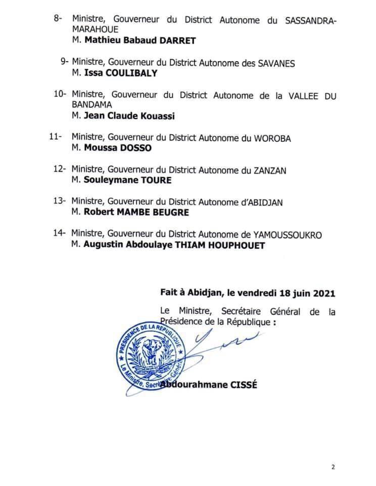Côte d'Ivoire : le gouvernement dévoile sa liste de nouveaux ministres-gouverneurs