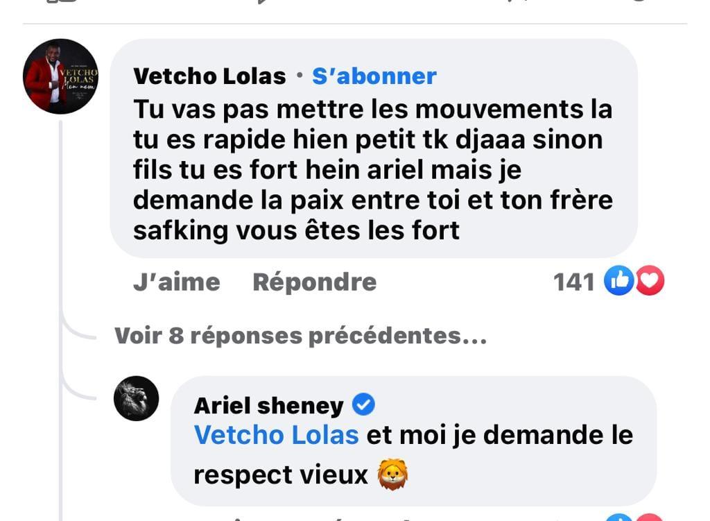 Clash entre Ariel Sheney et Safarel Obiang : Vetcho Lolas s'en mêle
