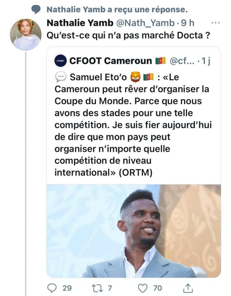Samuel Eto'o soutient que le Cameroun peut organiser la coupe du monde : réaction étrange de Nathalie Yamb