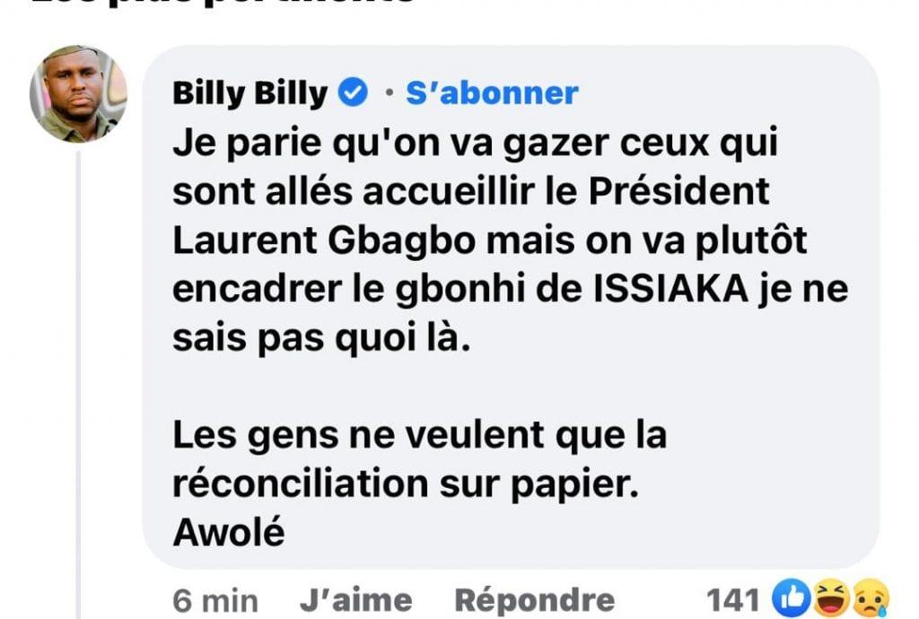 """""""Les gens ne veulent que la réconciliation sur papier""""- Billy Billy"""