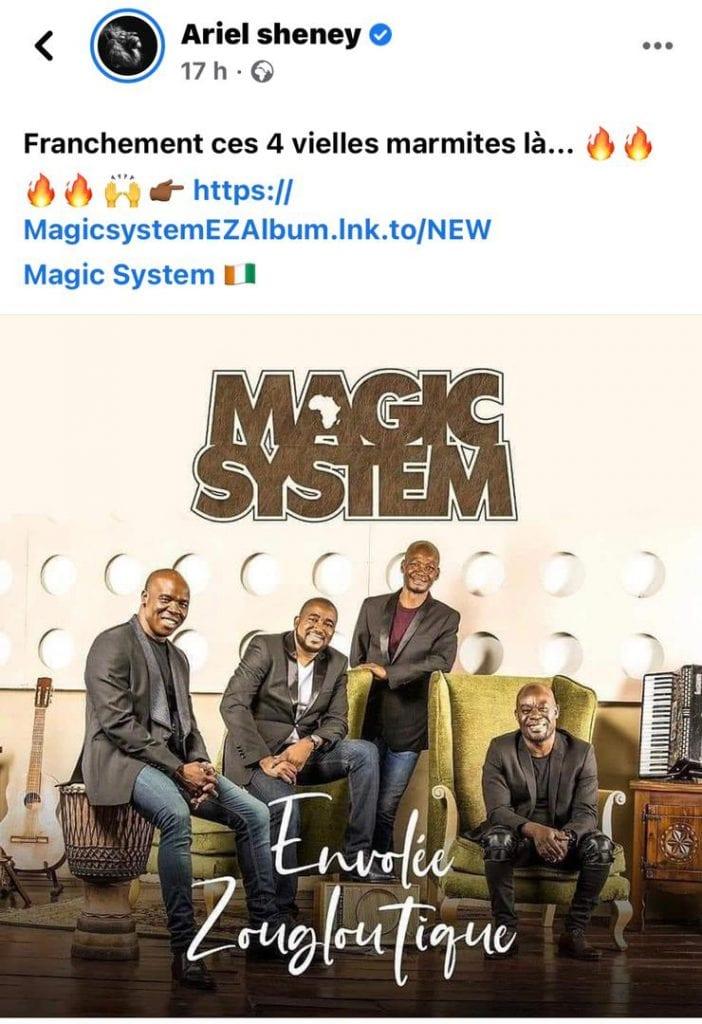 Ariel Sheney : voila ce qu'il pense du nouvel album du groupe Magic System