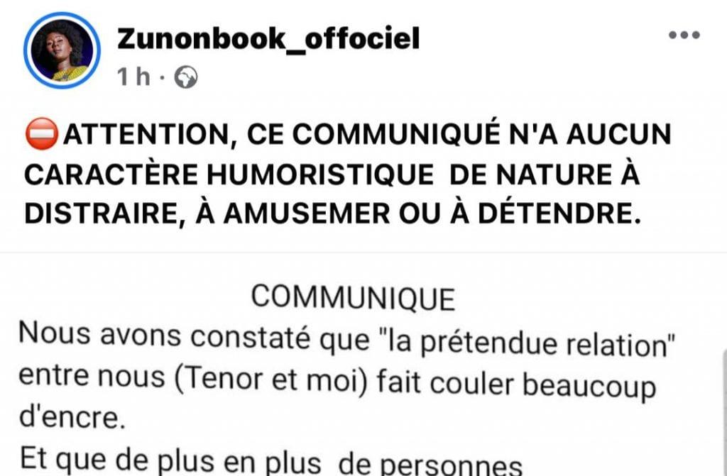 Eunice Zunon sort un communiqué qui ''n'a aucun caractère humoristique'' sur sa relation avec Tenor