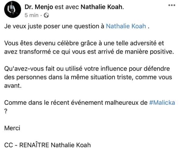 Cameroun/Affaire sextape Camus Mimb et Malicka : après Charlotte Dipanda, Nathalie Koah réagit à son tour