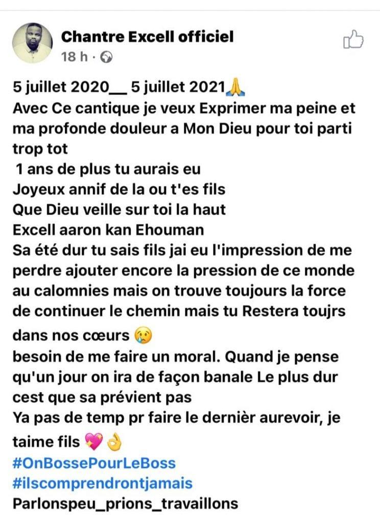 Côte d'Ivoire/ Chantre Excell : après le décès de son fils, il lui adresse un message