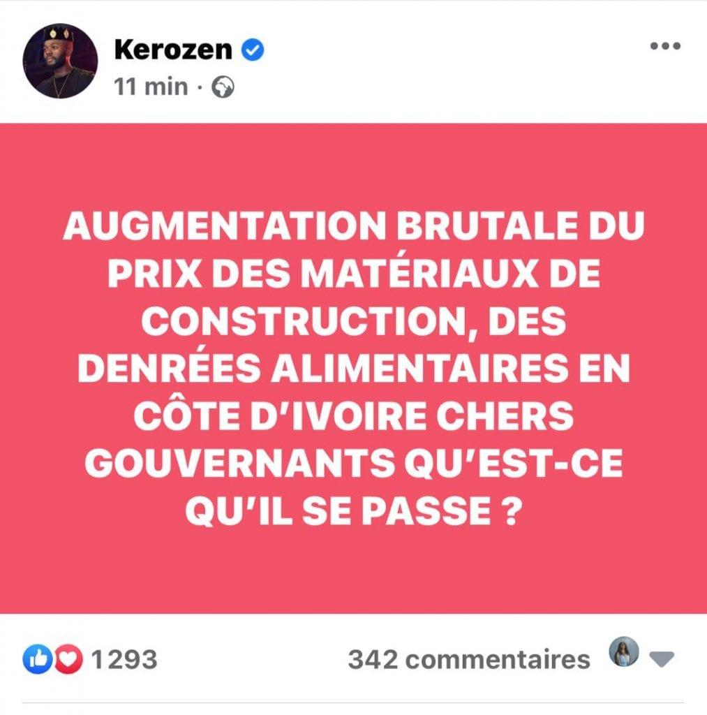 Côte d'Ivoire / Hausse des prix des denrées: Dj Kerozen interroge le gouvernement