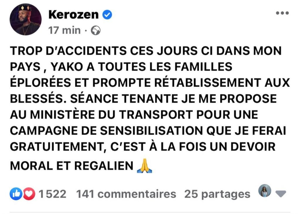 Côte d'Ivoire/ Accident de la circulation : Kerozen Dj propose son aide au ministre du transport