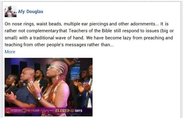 """Nigéria/ """"Les anneaux de nez, les perles au rein, les piercings aux oreilles représentent la sorcellerie"""", (Pasteur Douglas)"""