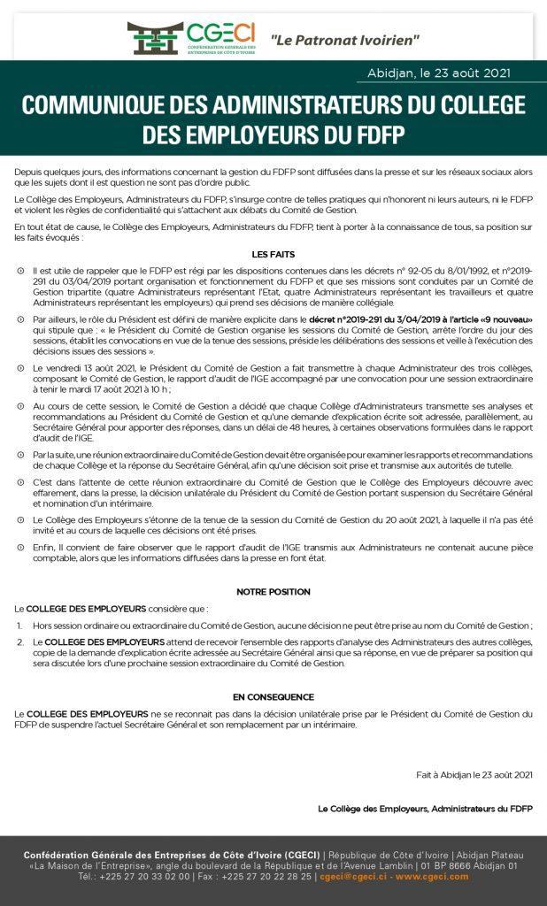 Côte d'Ivoire / Communiqué des administrateurs du collège des employeurs  du FDFP