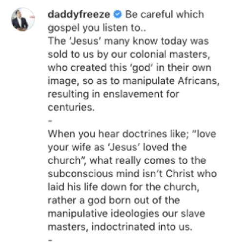 Daddy Freeze: «Le « Jésus » que beaucoup connaissent aujourd'hui nous a été vendu par nos maîtres coloniaux»