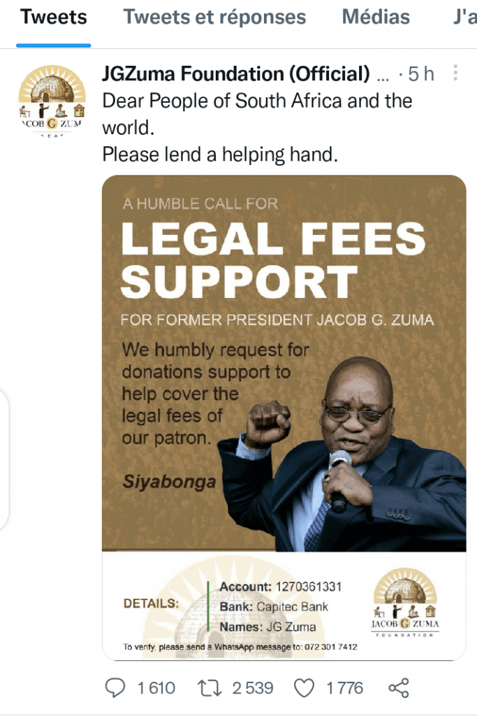 Afrique du Sud/ Les proches de Jacob Zuma lancent un appel de dons pour financer ses frais de justice