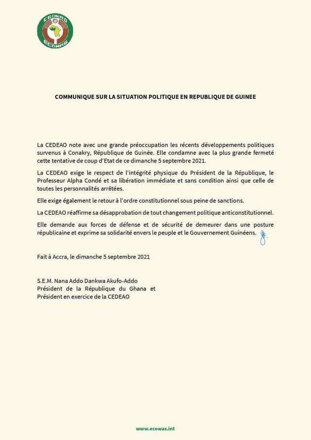 Coup d'Etat en Guinée: après l'ONU, l'Union africaine et la CEDEAO réagissent à leur tour