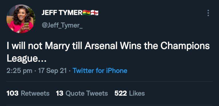«Je ne me marierai pas tant qu'Arsenal n'aura pas remporté la Ligue des champions»