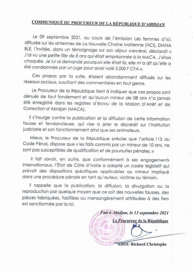 Côte d'Ivoire / prétendu enfant emprisonné à la MACA, le procureur Adou Richard brise le silence