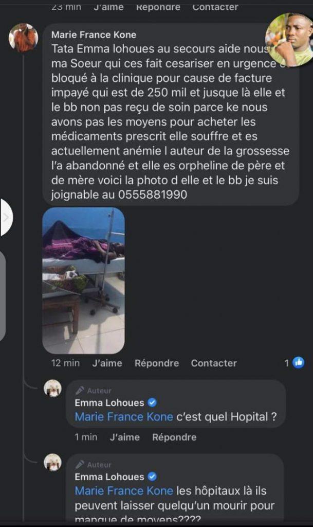 Côte d'Ivoire/ faute d'argent, une femme privée de soins médicaux : Ebahie, Emma Lohoues réagit