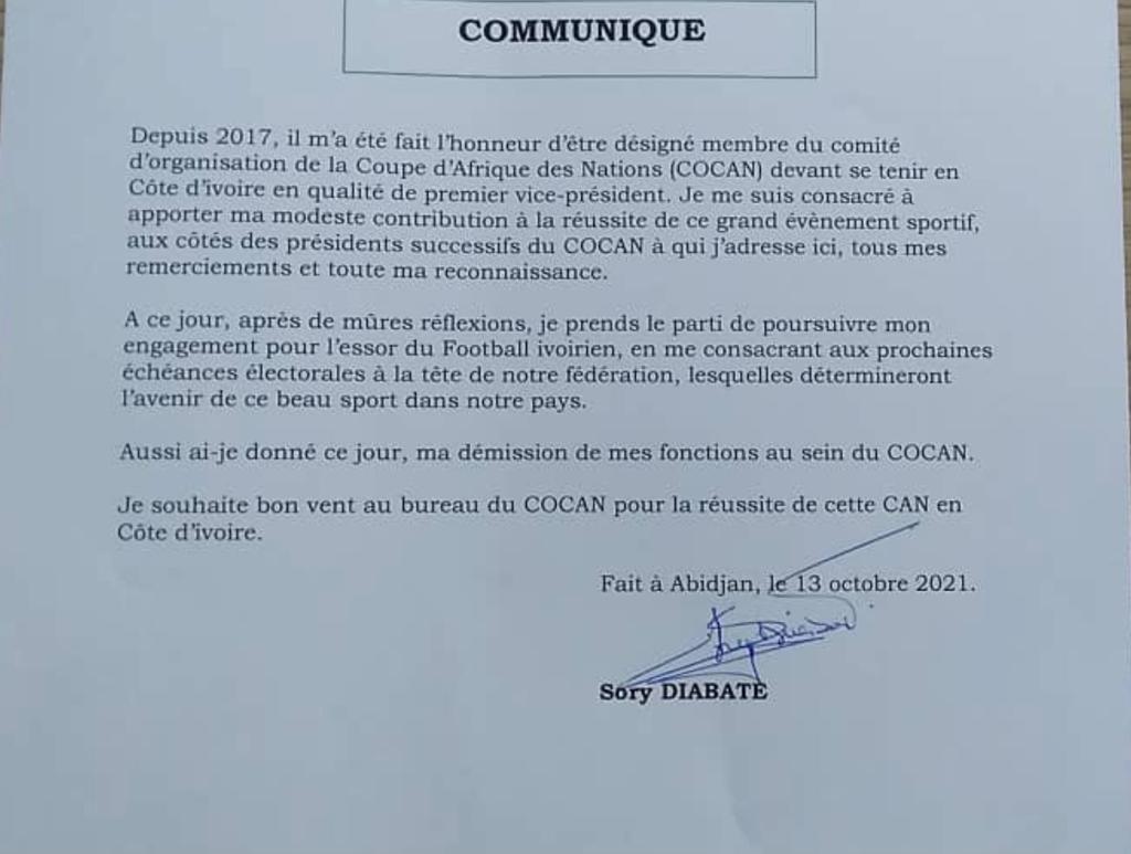 Côte d'Ivoire-COCAN / Le Premier vice-Président démissionne: voici les raisons